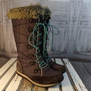 LL bean women's boots shoes winter snow warm lace